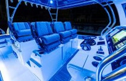 console seating at night with lights