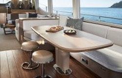 dining table with two stools