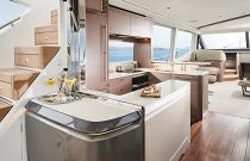 Galley with cockpit window open