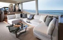 Salon sofa with wide windows