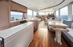 Galley with dining table folded