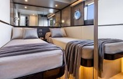 twin beds in guest cabin